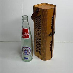 Vintage Coca Cola 1983 bottle and carved box